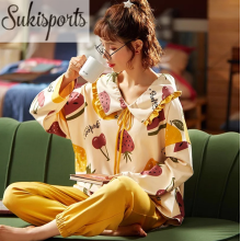 Women Cute Long-sleeved Cotton Nightwear Pajamas Set