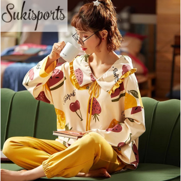 Women's Cute High Quality Long-sleeved Cotton Nightwear Ladies Luxury Pajamas Set for Girls