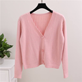 Pink Fashion Short Knitted Cardigan Sweater