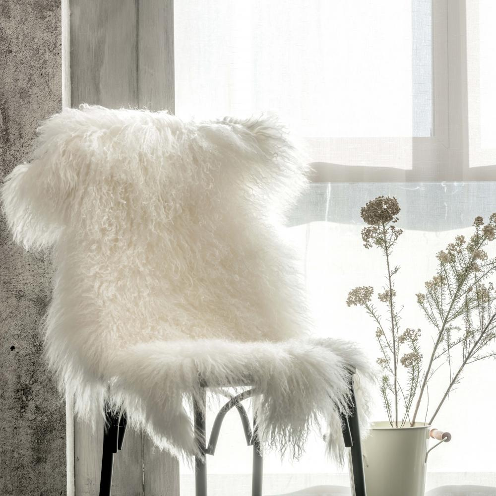 Genuine Mongolian Lamb Curly Fur Pelt throw rug