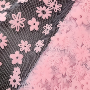 Polyester Daisy Flocking Printed Tulle Mesh Fabric