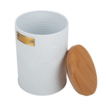 White Enamel Food Storage Canister for Serving Tea
