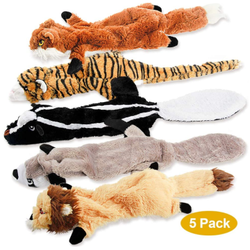 5 Pack Two Squeaky Cute Animals dog toys