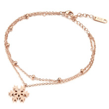 18k rose gold snowflake charm foot ankle bracelet