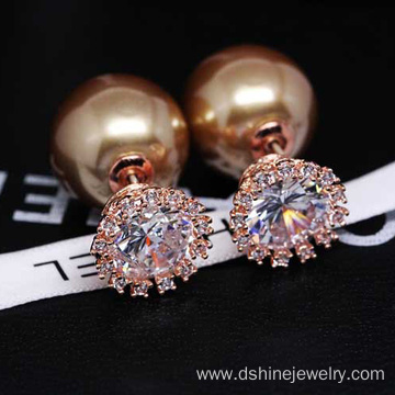 Zircon Crown Shell Pearl Earring Two-side Gold Pearl Earring