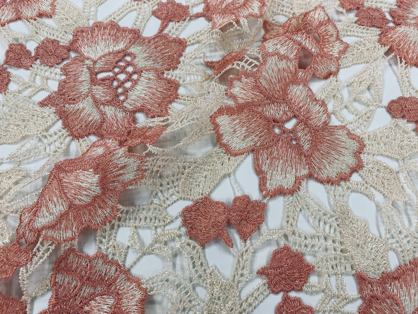 Peach Chemical Lace Embroidery Fabric