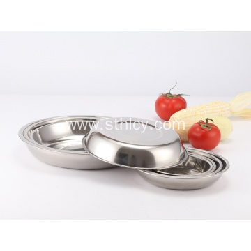 Polished 201 Stainless Steel Round Plates Dish Set