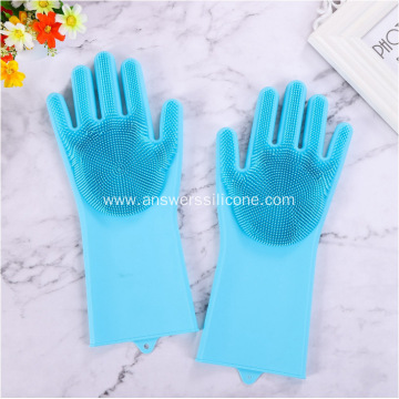 Magic Silicone Dish Washing Gloves With Scrubber