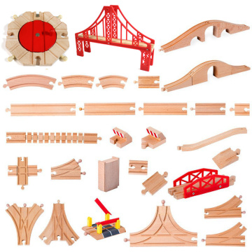 1pcs Wooden Track Parts Beech Wooden Train Track Racing Railway Train Toys Accessories fit for Brand Tracks for Children Gift