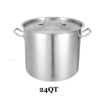 24QT Stainless Steel Covered Stock Pot