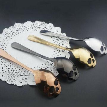 Novelty Spoon Fashion Stainless Steel Skull Shape Coffee Sugar Tableware Kitchen Teaspoon Spoon Dessert Gothic Funny Gift