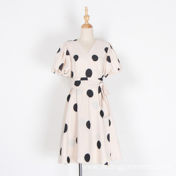 Women Summer Loose Casual Dot Dresses