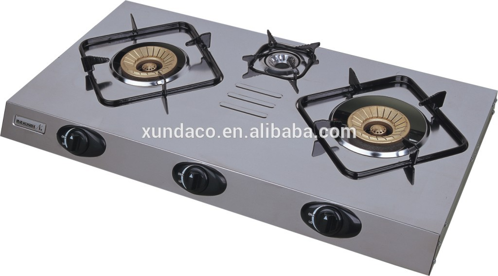 Ultra Slim Stainless Steel 3 Burners Gas Stove
