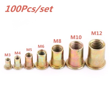 100pcs M3 M4 M5 M6 M8 M10 M12 Zinc Plated Carbon Steel Knurled Nuts Rivnut Flat Head Threaded Rivet Insert Nutsert Cap Rivet Nut