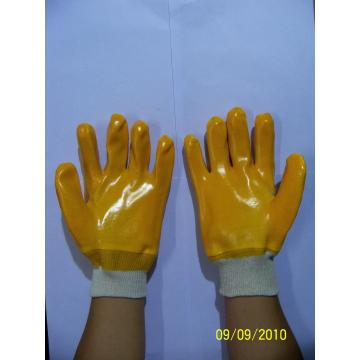 Yellow PVC single dipped gloves with knit wrist