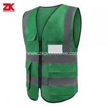 cheap green safety vest with pockets for workwear