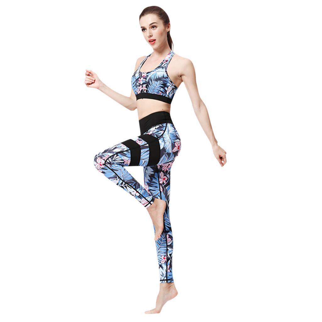 2020 New Sexy Ladies' Print Yoga Set High Waist Hip Bottom Pants Running Fitness Yoga Blouse Pant Suit спортивный костюм#40