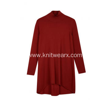 Women's Knitted Mock-Neck High-Low Hem Blouses&Skirt
