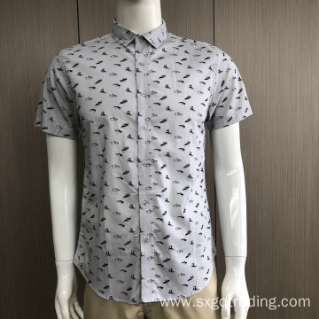 100% Cotton print men's short sleeve shirt