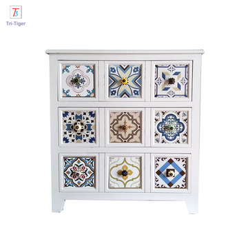 white Solid wood storage cabinet drawers storage wooden cabinet