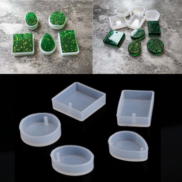 5pcs DIY Silicone Mould Craft Mold For Resin Necklace Jewelry Pendant Making Dried Flower Resin Decorative DIY Hand Crafts