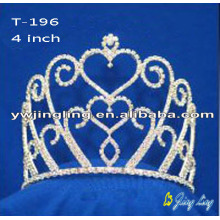 Cheap 4 Inch Heart Rhinestone Pageant Crowns