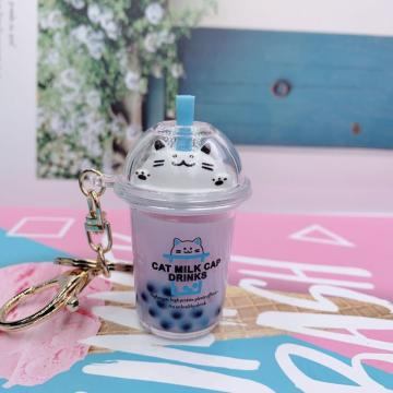 Cute Cat Milk Tea Keychain
