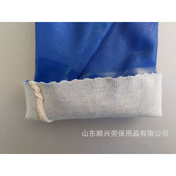 Blue PVC gloves with impregnated sandy Finish 30cm