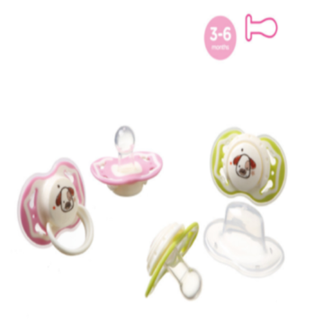 Infant Silicone Pacifier Safety Round Dual Color Nipple