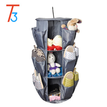 New design 3 shelf polyester fabric Shoe Rack Organizer Hanging Closet Organizers with hook