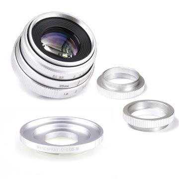 Silver Mini 35mm f/1.6 APS-C CCTV Lens+adapter ring+2 Macro Ring for Canon EF-M EOSM Mirroless Camera M1/M3/M5