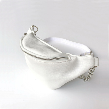 Womens White Leather Fanny Packs Waist Belt Bags