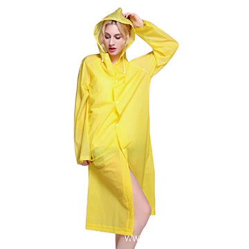 Long Style Translucent Hooded Waterproof EVA Raincoat