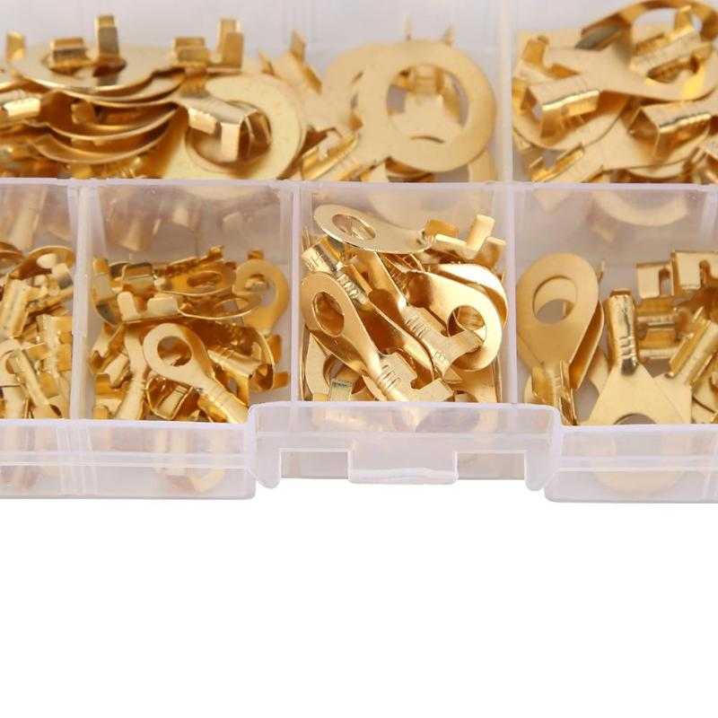 150pcs/set Ring Type Gold Terminals Wire Cable Brass Non-insulated Crimp Electrical Cable Wire Connectors 3.2-10.2mm