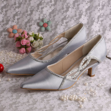 Pointed Toe Prom Shoes Silver Chunky Heel