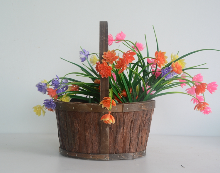 Oval wood bark handicrafted flower basket-6