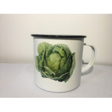 Enamelware Mug Vintage Vegetable Patten