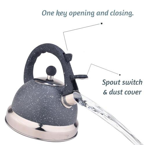 Grey Frosted Stainless Steel Whistling Tea Kettle