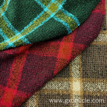 Boucle fashion Plaid  with loops yarn fabric