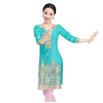 Woman Fashion Ethnic Styles Print Cotton Kurtas India Dance Performance Embroidery Dress Lady Top