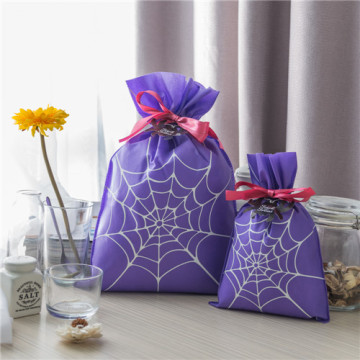 Purple Non-woven Spider Web Halloween Drawstring Gift Bag