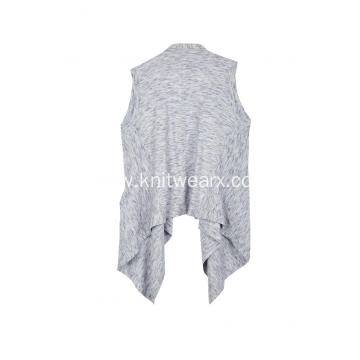 Women's Knitted Sleeveless Shawl Collar Wrap Pocket Cardigan