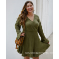 Long Flare Sleeve Knitted Biutique Spring Ruffle Dress