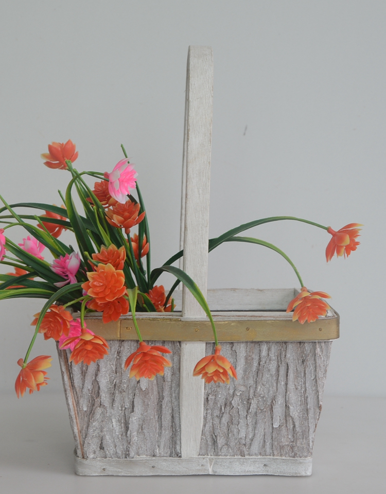 rectangular wood bark flower basket -1