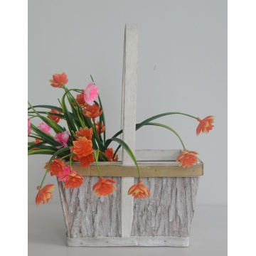 rectangular wood bark flower basket
