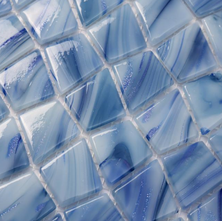 Blue star powder pattern glass mosaic