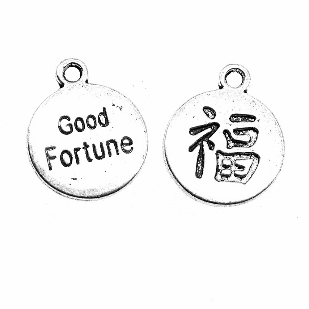 10pcs Chinese Good Luck Fu Charms Pendant For Jewlery Making 2 Colors Chinese Fu Charms Charm Good Fortune 18x15mm