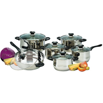 Stainless Steel Cookware Set with Bakelite Knobs