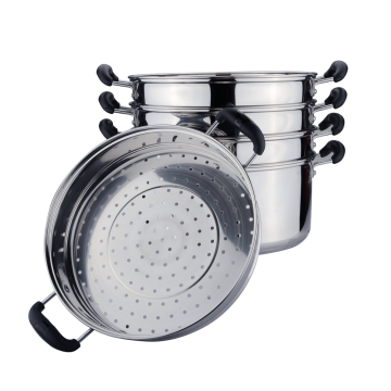 Stainless steel food stock pot with steamer grid