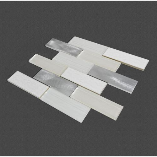 Bedroom White Glass Ceramic Aluminum Mosaic Mixed Tiles